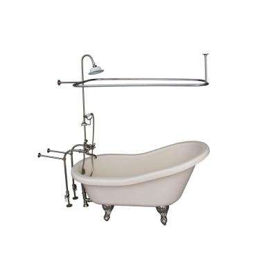 5 ft. Acrylic Ball and Claw Feet Slipper Tub in Bisque with Brushed Nickel Accessories