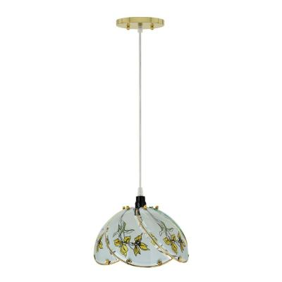 1-Light Polished Brass Mini Pendant with Floral Pattern Glass Shade