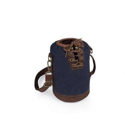 Navy and Brown Insulated Growler Tote