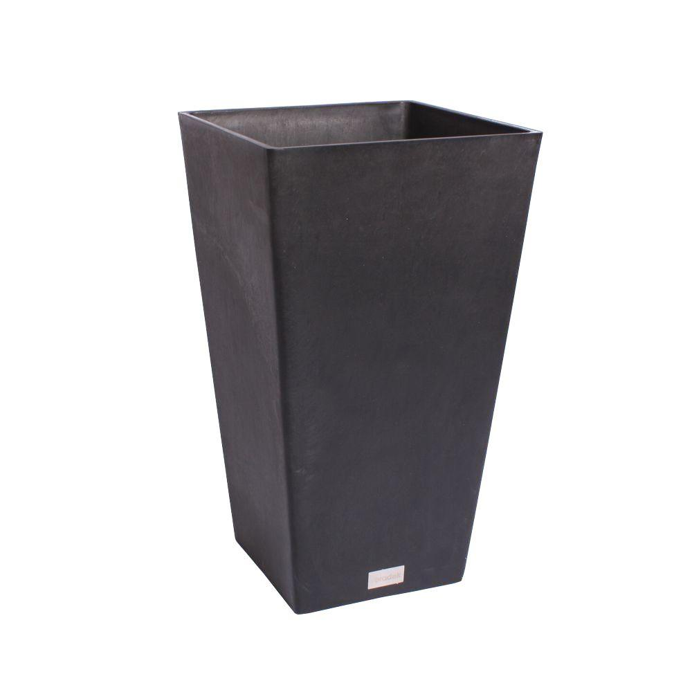 Midland 24 in. Black Plastic Tall Square Planter