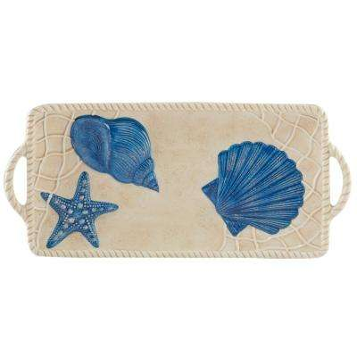 Seaside Multi-Colored 14.5 in. x 6.5 in. Ceramic Rectangular Tray with Handles