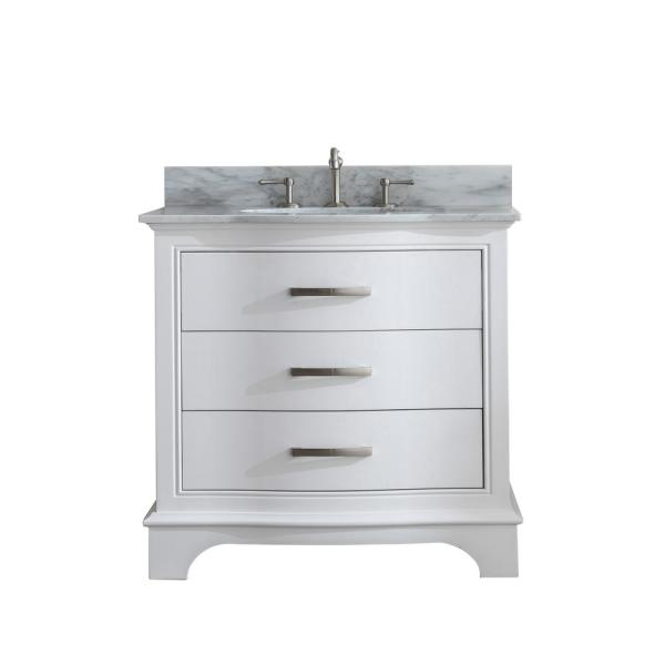 Monroe 36 in. W x 22 in. D Bath Vanity in White with Natural Marble Vanity Top in Carrara White with White Basin
