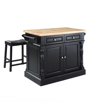 Oxford Black Kitchen Island with Saddle Stools
