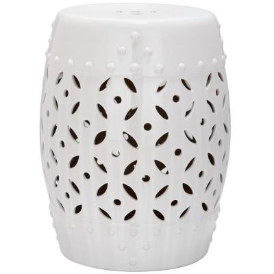 Lattice Coin White Ceramic Garden Stool
