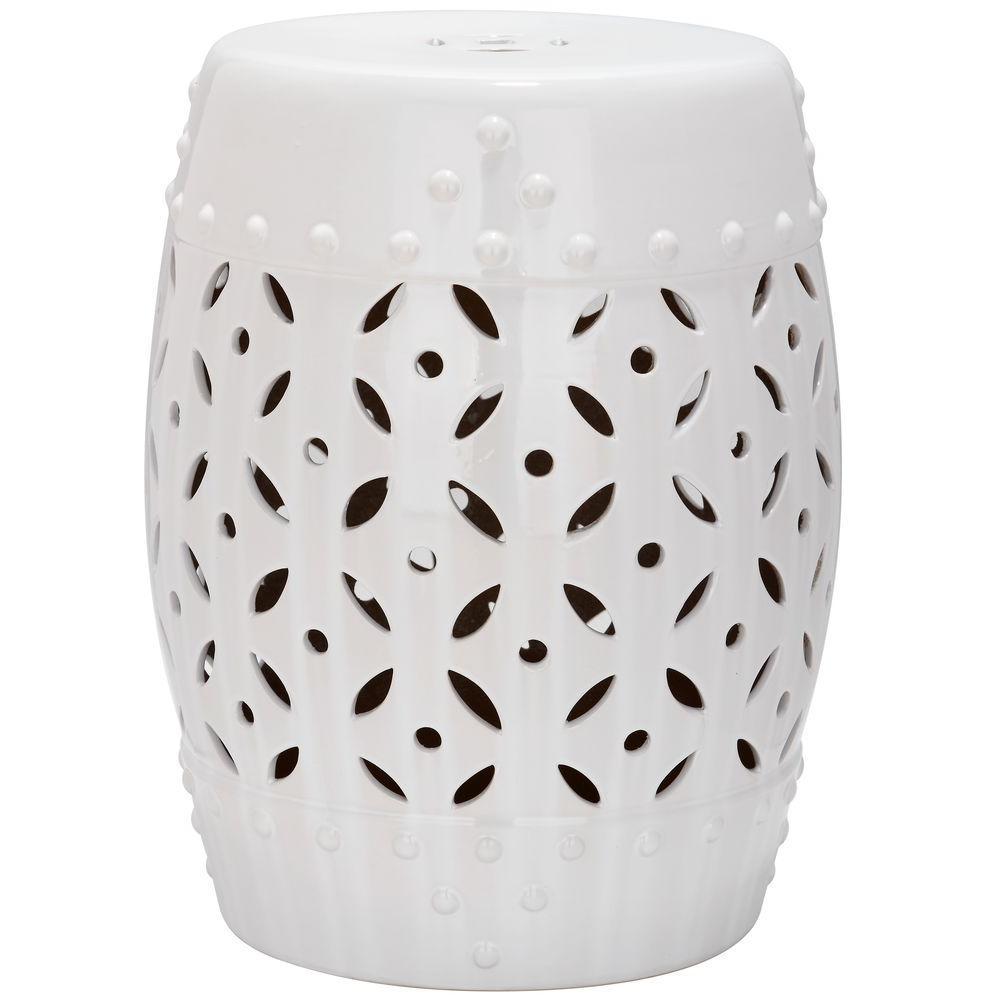 Lattice Coin White Ceramic Garden Stool