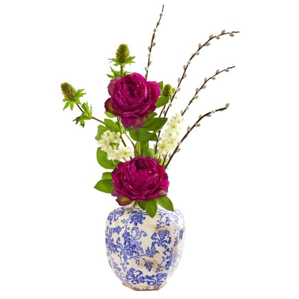 Nearly Natural Indoor Peony, Thistle and Dancing Daisy Artificial Arrangement