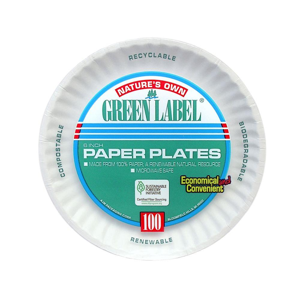 Green Label Uncoated Paper Plates, 6 in., White, 1000 Per Case
