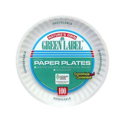 Uncoated Paper Plates, 6 in., White, 1000 Per Case