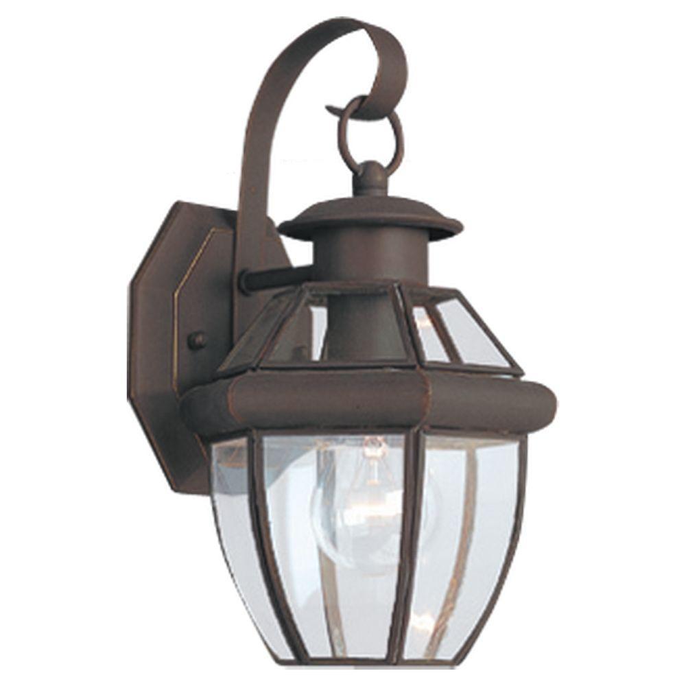 Outside Light Fixtures Home Depot: Sea Gull Lighting Lancaster 1-Light Antique Bronze Outdoor