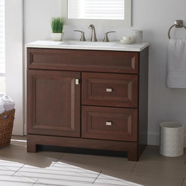 Home Decorators Collection Sedgewood 36 1 2 In W Bath Vanity In Dark Cognac With Solid Surface Technology Vanity Top In Arctic With White Sink Pplnkdcg36d The Home Depot