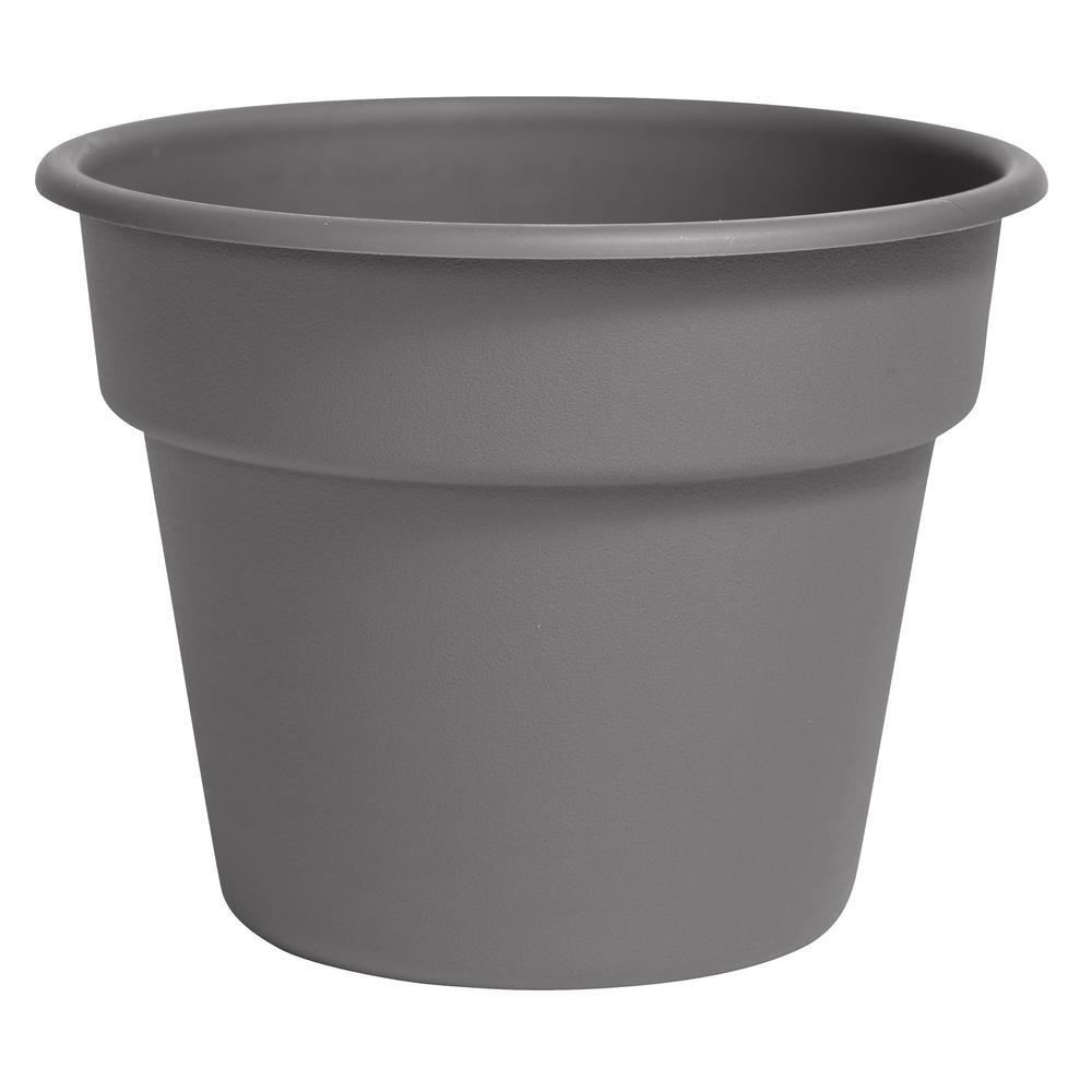 Bloem Dura Cotta 11.25 in. x 8.75 in. Charcoal Plastic Planter