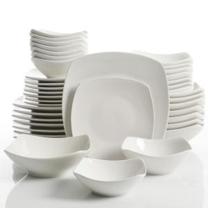 Brentwood 40-Piece White Soft Square Dinnerware Set