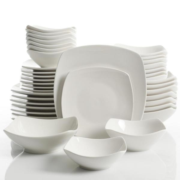 Gourmet Expressions Brentwood 40-Piece White Soft Square Dinnerware Set