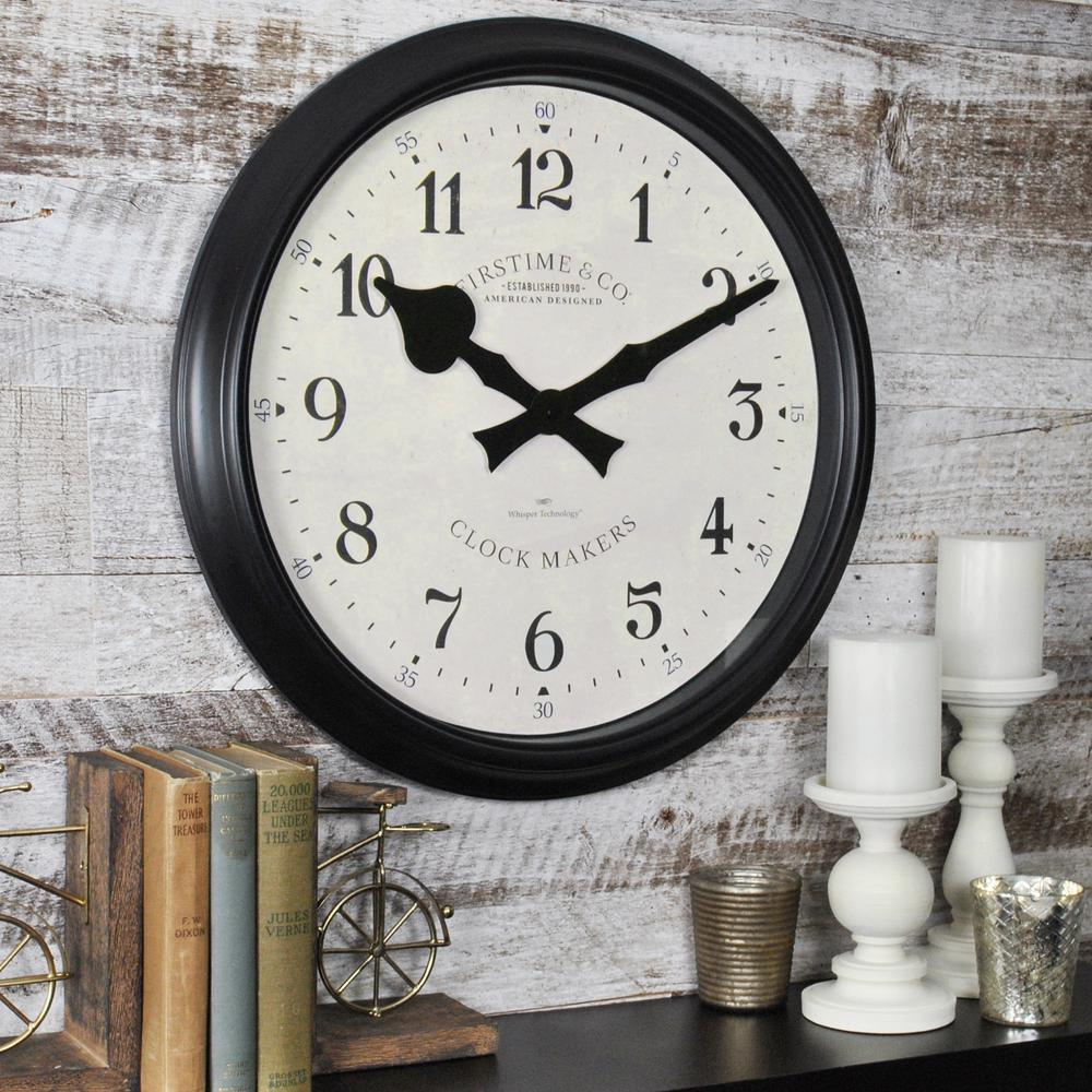 Black Oversized Avalon Whisper Wall Clock 31020 The Home Depot