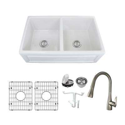 Versailles All-in-One Farmhouse/Apron-Front Fireclay 33 in. Equal Double Bowl Kitchen Sink with Faucet in White