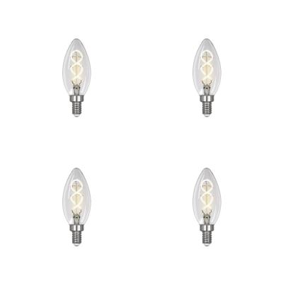 25-Watt Equivalent B10 Dimmable Candelabra Clear Glass Vintage LED Light Bulb with Spiral Filament Bright White (4-Pack)