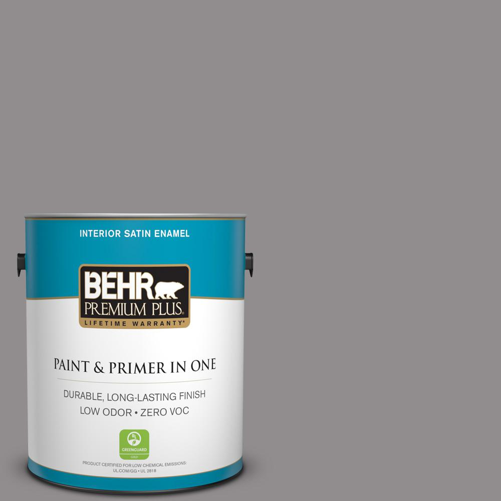 1 gal. #PPU16-14 Plum Smoke Zero VOC Satin Enamel Interior Paint
