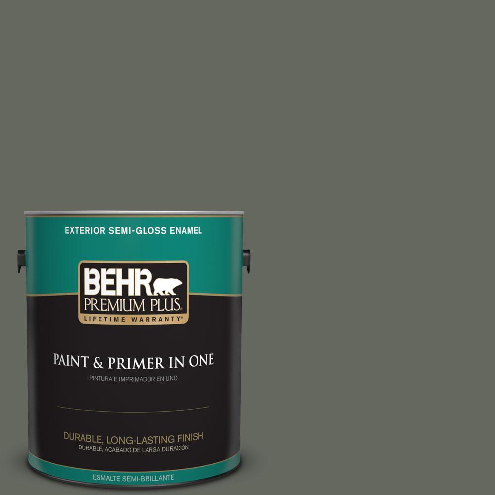 BEHR Premium Plus 1-gal. #ECC-41-3 Laurel Oak Semi-Gloss Enamel Exterior Paint