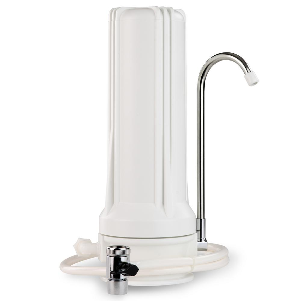 Countertop Drinking Water Filtration System, White Housing - Includes 2.5 in.