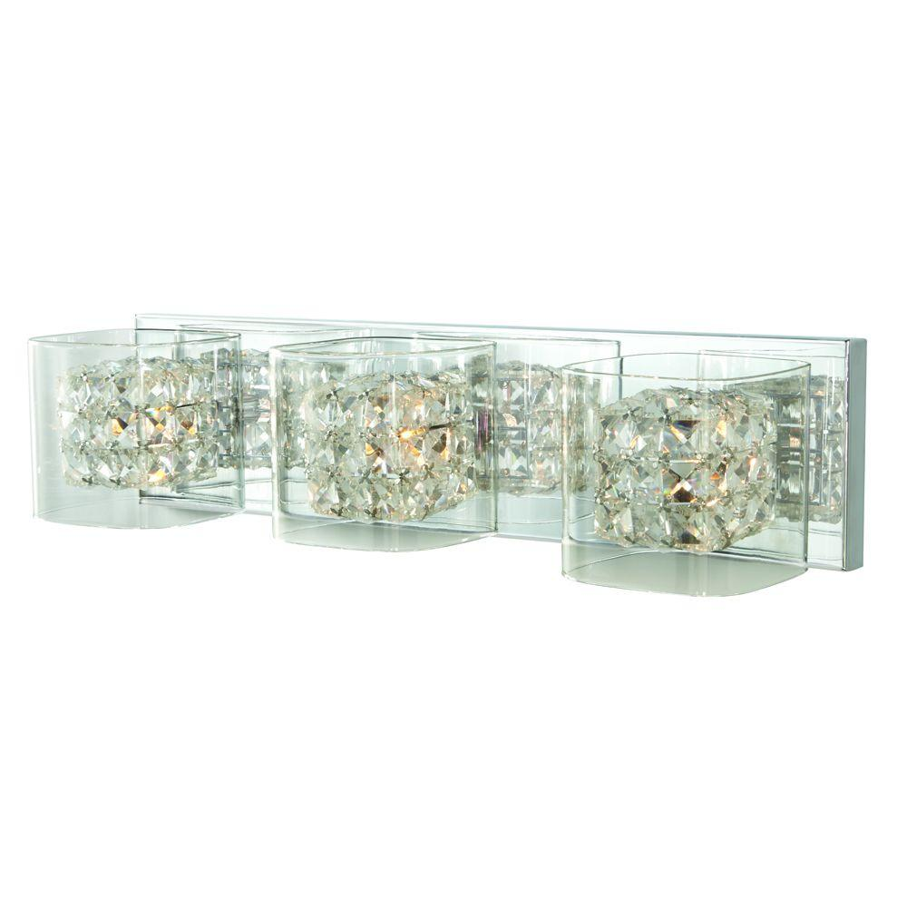 Home Decorators Collection Crystal Cube 3 Light Polished Chrome Vanity With Clear Glass Shades