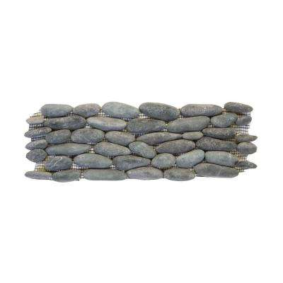 Standing Pebbles Cascade 4 in. x 12 in. x 15.875mm - 19.05 mm River Rock Mesh-Mounted Mosaic Wall Tile (6 sq. ft./case)