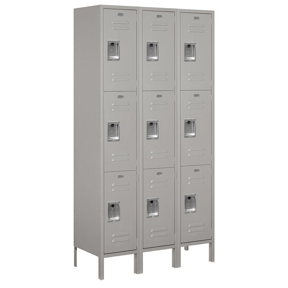 Salsbury Industries 53000 Series 45 in. W x 78 in. H x 15 in. D Triple Tier Extra Wide Metal Locker Unassembled in Gray