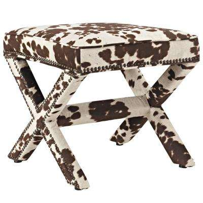 Cowhide Rivet Upholstered Fabric Bench
