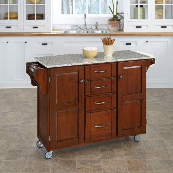 Home Styles Cherry Kitchen Cart With Salt & Pepper Granite Top