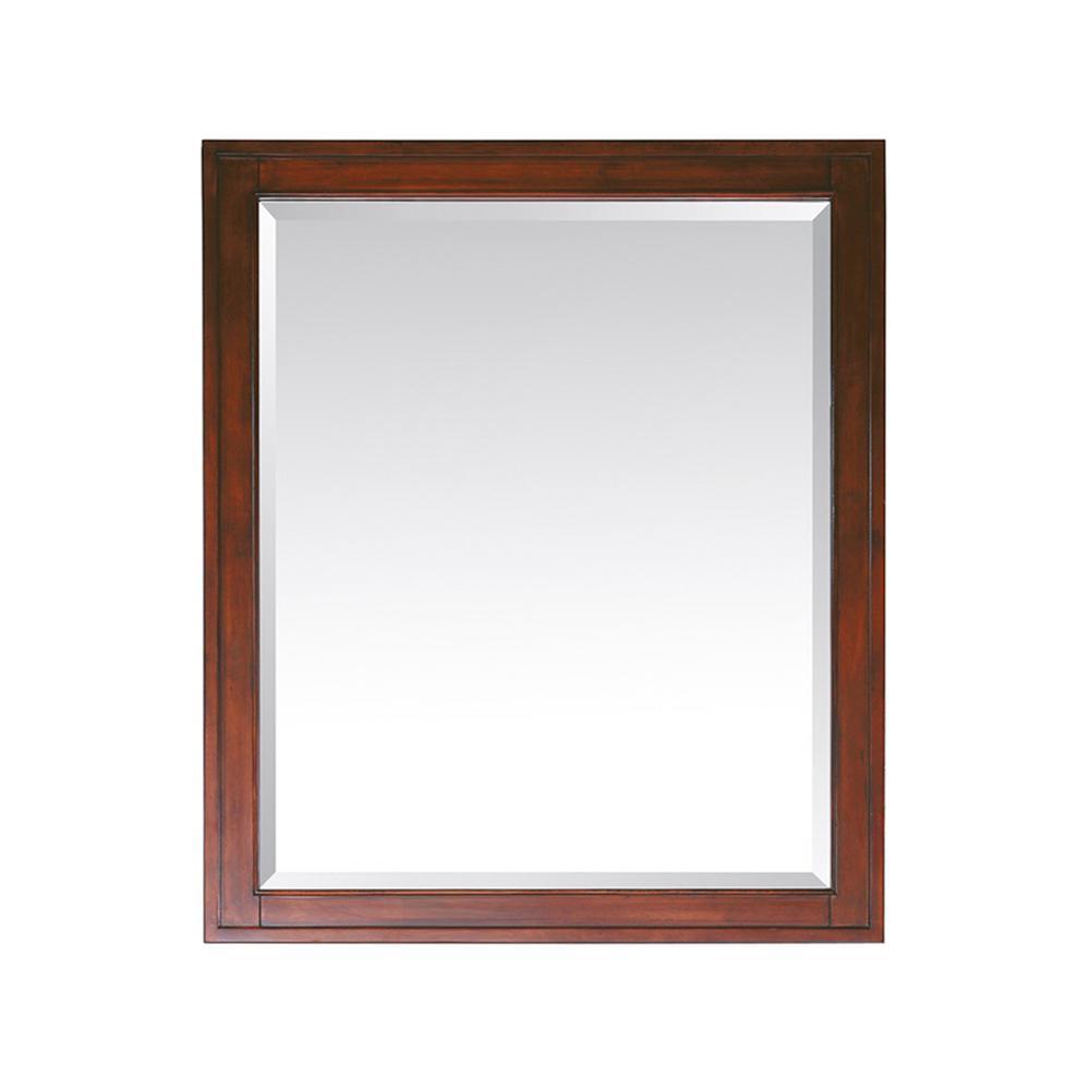 Madison 28 in. W x 32 in. H Framed Rectangular Beveled Edge Bathroom Vanity Mirror in Tobacco
