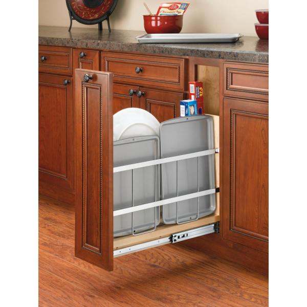 Rev A Shelf 19 5 In H X 5 25 In W X 22 44 In D Pull Out Wood Foil Wrap Tray Divider Cabinet Organizer 447 Bcbbsc 5c The Home Depot