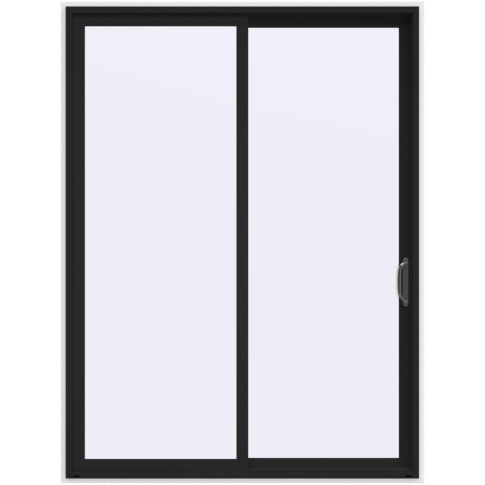 72 in. x 96 in. V-4500 Contemporary Bronze Painted Vinyl Right-Hand Full Lite Sliding Patio Door w/White Interior
