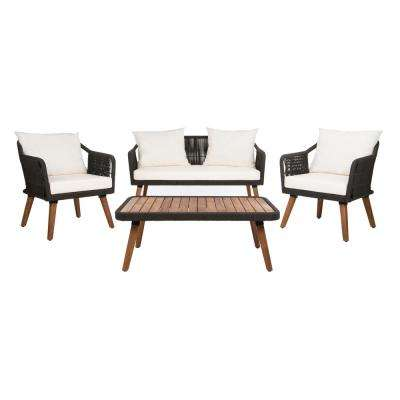 Raldin Black 4-Piece Wood Patio Conversation Set with White Cushions