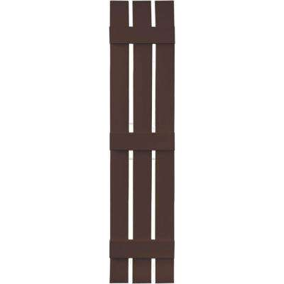 12 in. x 59 in. Board-N-Batten Shutters Pair, 3 Boards Spaced #009 Federal Brown