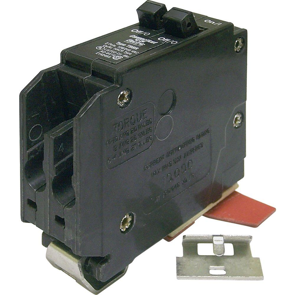 Wadsworth 20-Amp 1 in. Duplex Single-Pole Type B UBI Circuit Breaker The Wadsworth 20-Amp 1 in. Duplex Single-Pole Type B UBI Circuit Breaker is suitable for use in a Wadsworth load center using a copper with ground wire (not included). The breaker provides 2 circuits in the space of 1 and has a maximum load of 240-Volt. This twin breaker is for use in typical applications, such as kitchen circuits, branch circuits, wall receptacles, electric heaters, electric motors, dishwashers, refrigerators, freezers and washing machines.