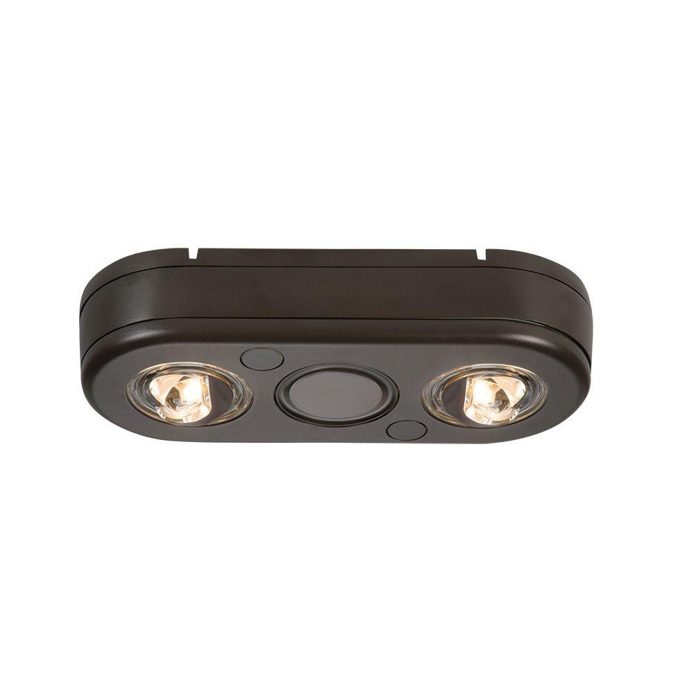 Revolve Bronze Twin Head Outdoor Integrated LED Security Flood Light at