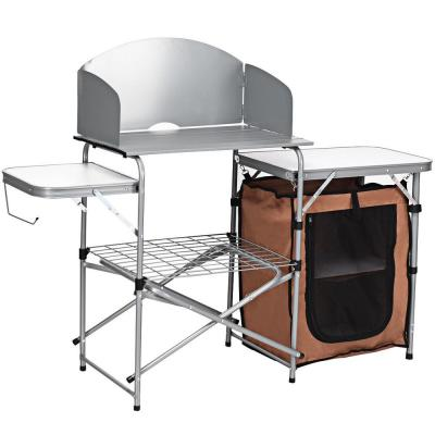 44 in. H White Rectangle Aluminum Picnic Outdoor Foldable BBQ Portable Grilling Table with Windscreen Bag