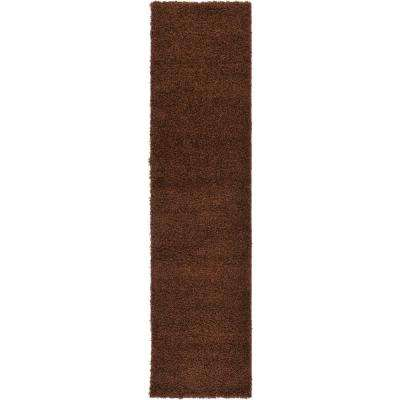 Solid Shag Chocolate Brown 10 ft. Runner Rug