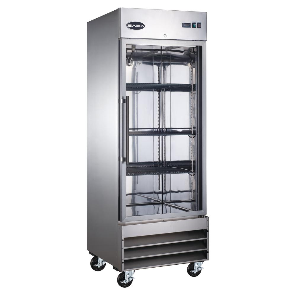 SABA 29 in. W 23 cu. ft. One Glass Door Display Commercial Reach In Upright Refrigerator in Stainless Steel
