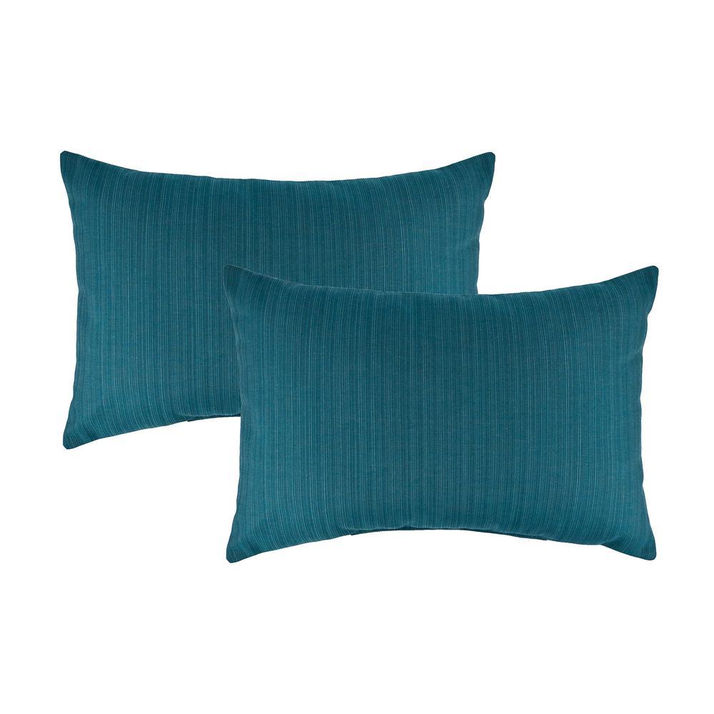 Austin Horn Collection Sunbrella Dupione Deep Sea Boudoir Outdoor Pillow (set