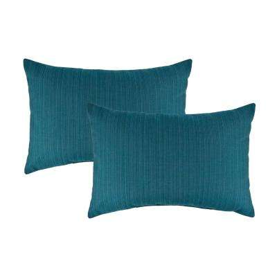 Sunbrella Dupione Deep Sea Boudoir Outdoor Pillow (set of 2)