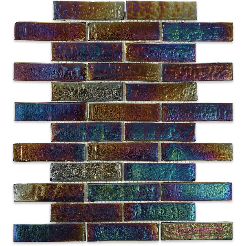 Splashback Tile Iridescent Raven 9 3 4 In X 13 8 Mm Gl Floor And Wall Brick The Home Depot