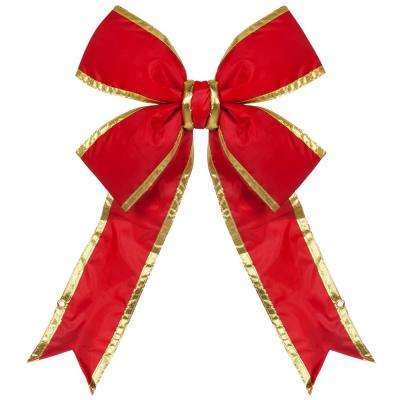 36 in. Red Nylon Outdoor Christmas Structural Bow with Gold Trim