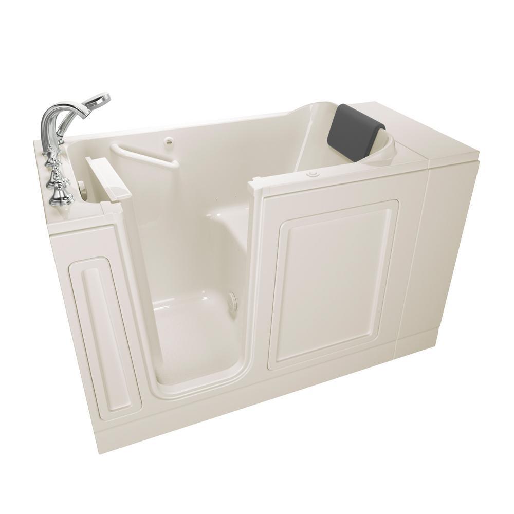 American Standard Acrylic Luxury 48 in. Left Hand Walk-In Air Bathtub in Linen