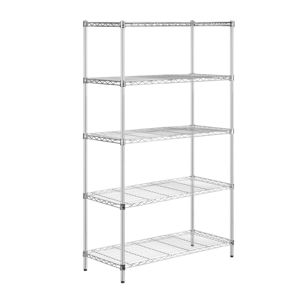 Honey-Can-Do 5-Tier 18 in. x 42 in. x 72 in. Shelving Unit in Chrome