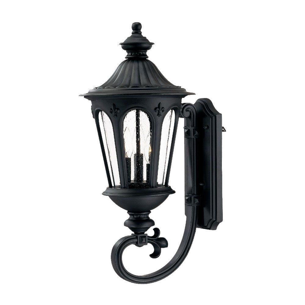 Acclaim Lighting Marietta Collection 3 Light Matte Black Outdoor Wall Lantern Sconce 61561bk The Home Depot