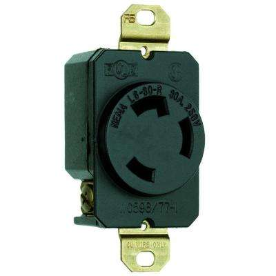 30 Amp 250-Volt 3-Wire Grounding Locking Single Outlet - Black