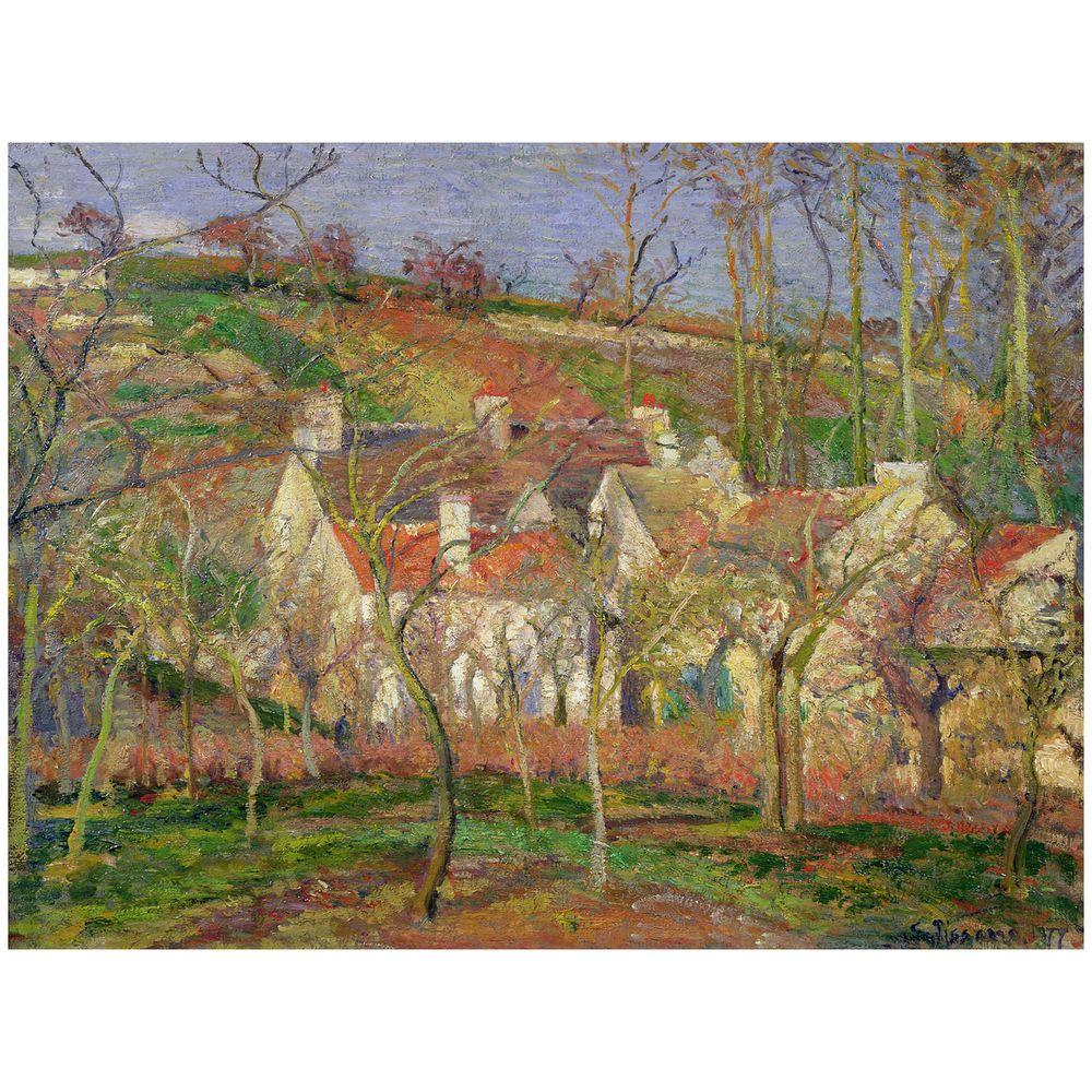 Trademark Fine Art 26 in. x 32 in. The Red Roofs, Winter, 1877 Canvas Art