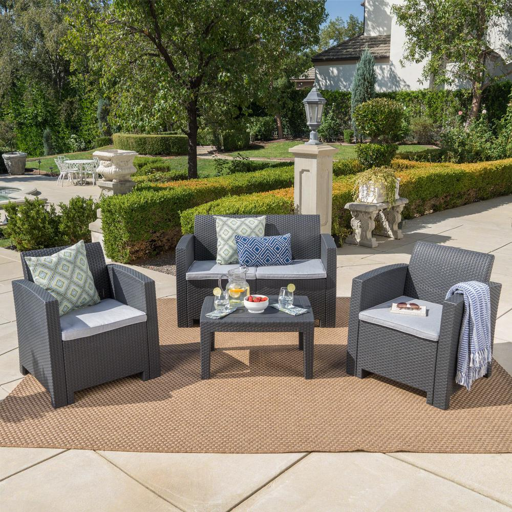 Noble House Charcoal 4-Piece Wicker Patio Conversation Set with Light Gray Cushions