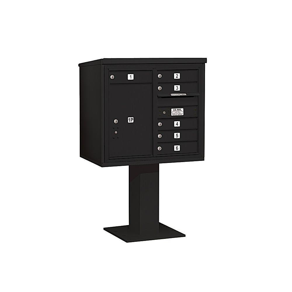3400 Series 55-1/8 in. 7 Door High Unit Black 4C Pedestal Mailbox with 6 MB1 Doors/1 PL6