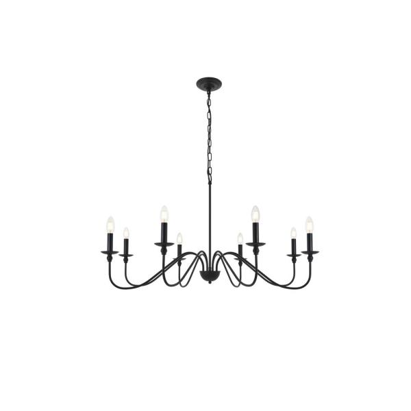 Timeless Home Roman 42 in. W x 21.8 in. H 8-Light Matte Black Pendant